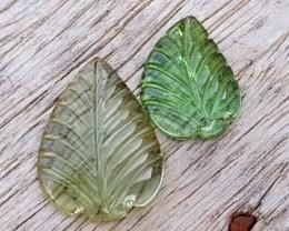 6.00 Ct Natural Green Transparent Tourmaline Carving Pairs