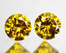 ~PAIR~ 0.175 Cts Natural Sparking Yellow Diamond Round Africa