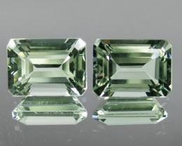 ~PAIR~ 7.01 Cts Natural Prasiolite (Green Amethyst) Octagon Brazil