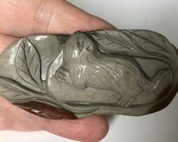 176.50ct CAT carved Jasper drilled pendant - Wonderful Cameo NR