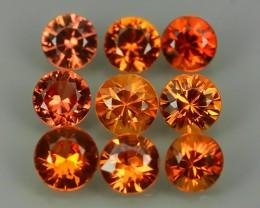 1.75Cts Natural Intense Beautiful Orange-Yellow Sapphire Round Madagascar