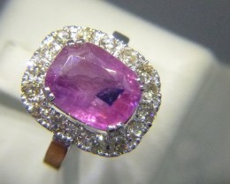 Certified Rare 6.34cts Diamond Ring With Burmese Ruby 135.000$