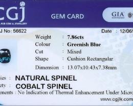 7.86 cts cobalt certified Sri Lankan spinel.