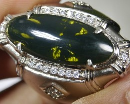 80.95 CT UNTREATED GREEN CLEAR INDONESIAN FIRE OPAL WITH RING