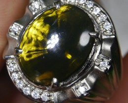 81.05 CT UNTREATED GREEN CLEAR INDONESIAN FIRE OPAL WITH RING