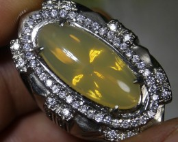 73.05 CT UNTREATED YELLOWISH CLEAR INDONESIAN FIRE OPAL WITH RING