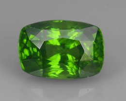 CERTIFED~4.20 CTS DAZZLING NATURAL LUSTER CUSHION INTENSE GREEN ZIRCON~
