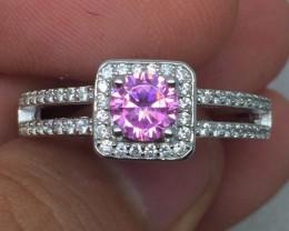 (B5) Mesmerizing Nat 3.0cts. Pink Sapphire & Topaz Ring