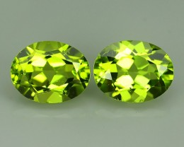 3.60 CTS High Best Natural Apple Green Pakistan Peridot Pair Oval NR!!