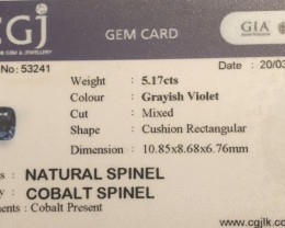 5.17ct cobalt certified natural color change  spinel.