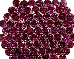 114.26Cts Natural Purple Rhodolite Garnet 6mm Round Parcel