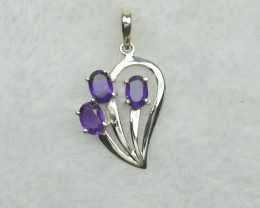 NATURAL UNTREATED AMETHYST  PENDANT 925 STERLING SILVER JE824