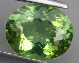 EXCELLENT 3.35 CTS GENUINE TOP COLOR GREEN APATITE OVAL BRAZIL NR!!!