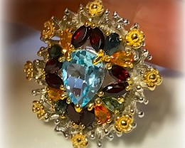 Festive! A multi gem Ring Size 8 Sterling Silver and 14kt Gold
