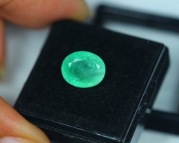 3.36ct Zambia Green Emerald Oval Cut Lot GW2209