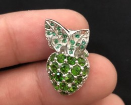 15.3ct Chrome Diopside 925 Sterling Silver Pendant
