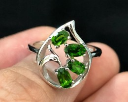 15.58ct Chrome Diopside 925 Sterling Silver Ring US 7