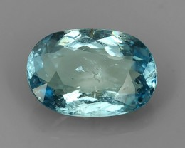 3.60 CTS WONDERFUL!!! OVAL 100%NATURAL GEM SEAGULL BLUE AQUAMARINE