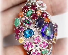 Incredibly breath-taking gem studded large pendant - so many stones! 73.50c
