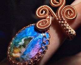 42.75crt BEAUTYFUL DRUZY RING HAND MADE CABLE COPPER