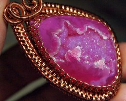100.20CRT BEAUTYFULY DRUZY AGATE CABLE HANDMADE RING