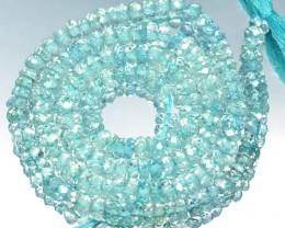 43.27 Cts Natural Blue Aquamarine Beads 4.0 mm Roundel 35 cm Length Brazil