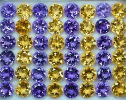 83.01Cts Matching Amethyst Citrine Calibrated Round 8mm Parcel