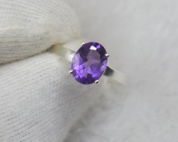 NATURAL UNTREATED AMETHYST RING 925 STERLING SILVER JE839
