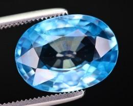Certified 6.25 Ct Ravishing Luster Natural Blue Zircon ~ A.