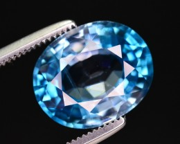 Certified 5.45 Ct Tremendous Color Natural Blue Zircon ~ A.