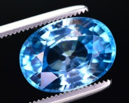 Certified 5.93 Ct Beautiful Color Natural Blue Ziircon ~ A.