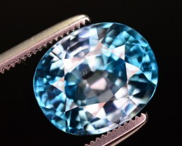 Certified 5.52 Ct Gorgeous Color Natural Blue Zircon ~ A.