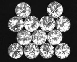 9.21 Cts Natural White Zircon 5 mm Diamond Cut 13Pcs Parcel