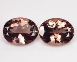 3.63 Cts Natural Brownish Pink Apatite 9x7 mm Oval Cut 2 Pcs Brazil
