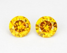 ~PAIR~ NATURAL SPARKLING YELLOW DIAMOND 0.21 Cts ROUND AFRICA