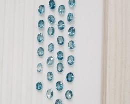 16.5 carat Blue zircon oval parcel 5x4mm