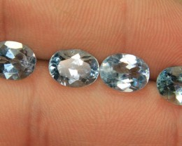 Wow Beautiful 4 pieces Oval Shape of Swiss Blue Topaz Set 2 pieces for Ear