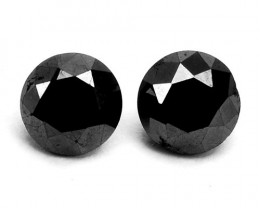 0.64 Cts Natural Black Diamond 2 Pcs Round Africa