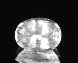 Pure White Unheated Natural Sapphire Oval 0.84Ct