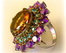 """Opulence' A Huge Cocktail Ring of Citrine Amethyst and Zircons"