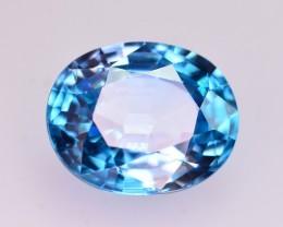 CIGTL Certified 6.015 Ct Beautiful Color Natural Vibrant Blue Zircon