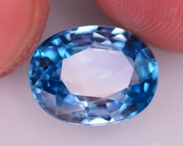 Certified 6.805 Ct Dazzling Color Natural Vibrant Blue Zircon