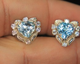 Wow Very Beautiful Hand Made Ear Ring Of Swiss Color Topaz Gemstone In 925