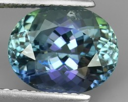 PRIVATE AUCTION~4.08 Cts GENUINE ULTRA RARE NATURAL GREENISH BLUE TANZANITE