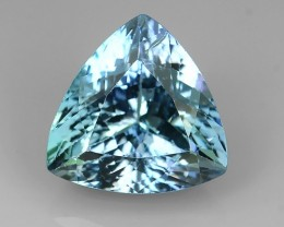4.10 Cts GENUINE ULTRA RARE NATURAL TRILLION-CUT GREENISH BLUE TANZANITE
