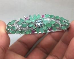 ( B2)Ravishing Nat 112.6tcw.  Zircon Emerald & Ruby Bangle