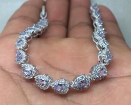 (B2) Stunning Nat 59.1tcw. Top Violet Blue Tanzanite CZ  Bracelet