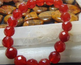 Beautiful Red Carnelian cut  10 mm Round faceted 131.80 cts