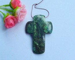 Natural green Turquoise Cross Shape Pendant bead ,67x47x8mm,130.5ct  (20180