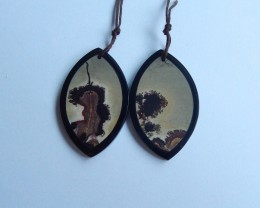 Natural chohua jasper obsidian gemstone intarsia Earring Pair  42*37*3mm 61